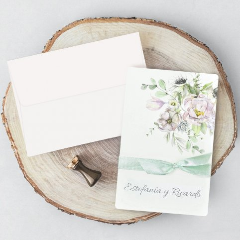 Green Flowers Wedding Invitation, Cardnovel 39721