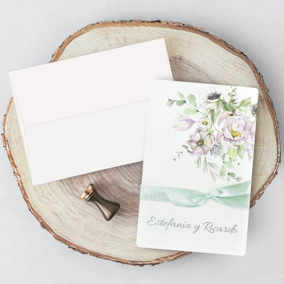 Hochzeitseinladungsblumen in Grün, Cardnovel 39721
