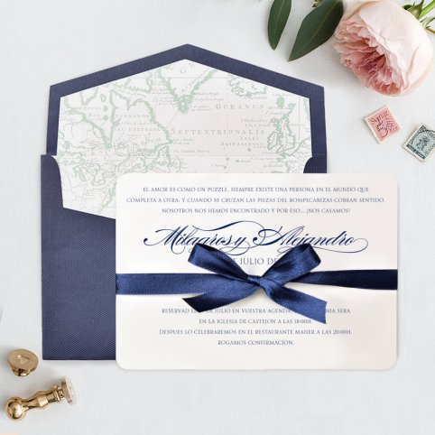 Blaue Karte der Hochzeitseinladung, Cardnovel 39709