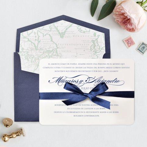 Invitación de boda tarjetón azul, Cardnovel 39709