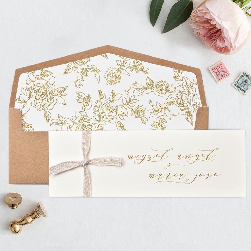 Invitación de boda tarjetón premium kraft, Cardnovel 39735