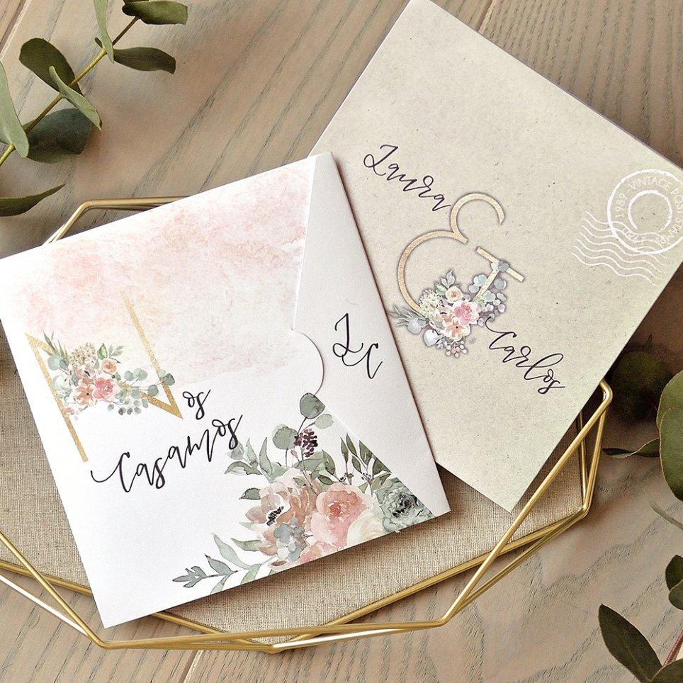 Invitación de boda semisobre, Cardnovel 39770