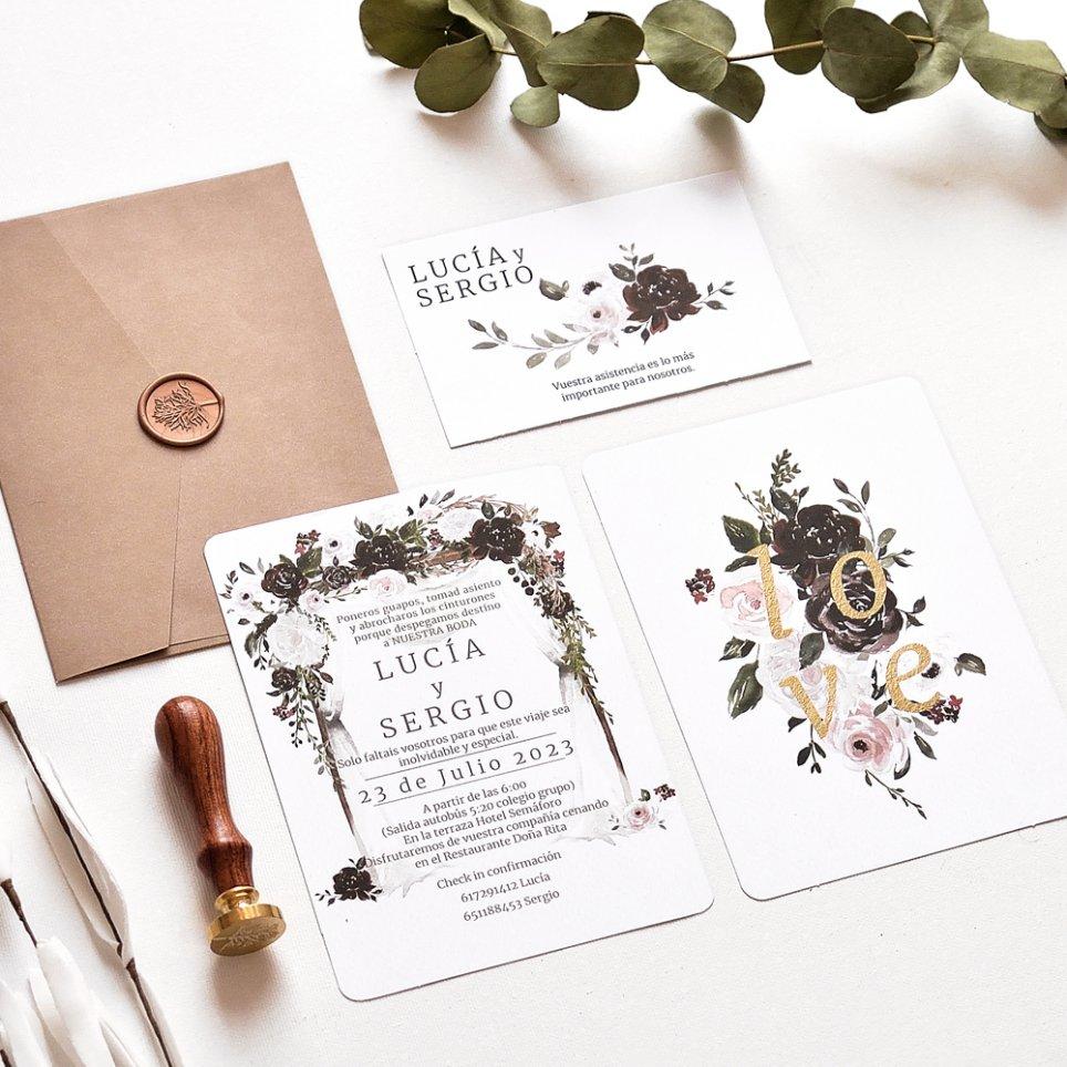 Invitación de boda rosas, Cardnovel 39780