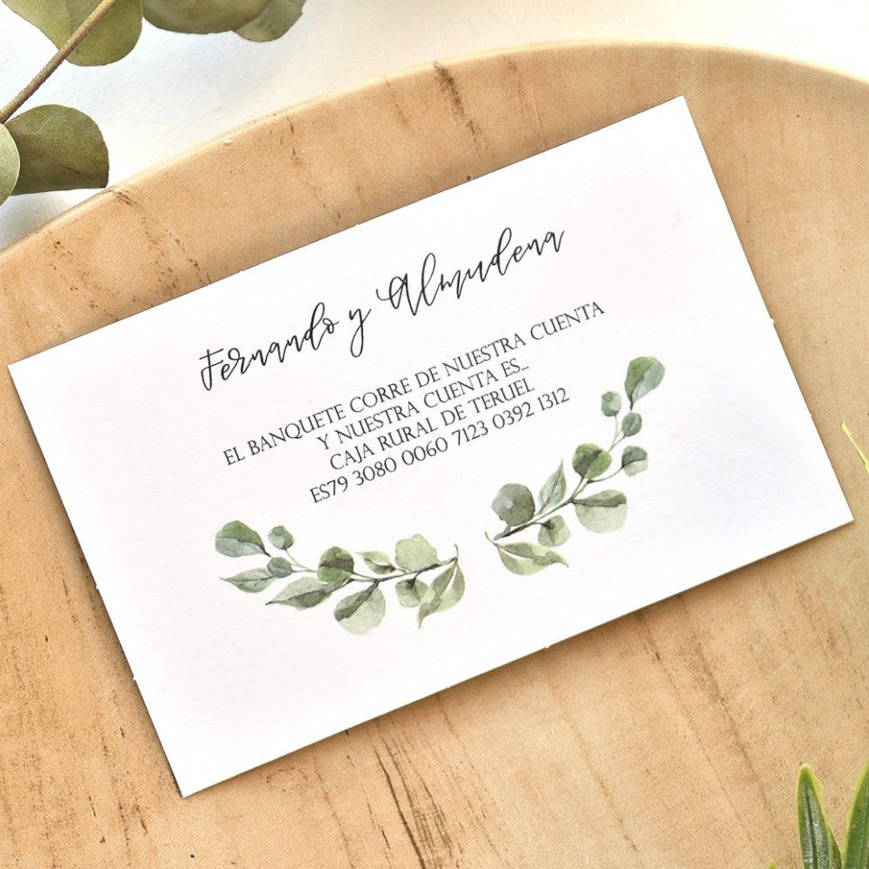 Tarjeta de agradecimiento hojas, Cardnovel 49771
