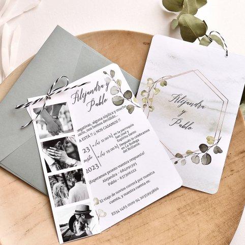 Photo booth and leaf wedding invitation, Cardnovel 39784