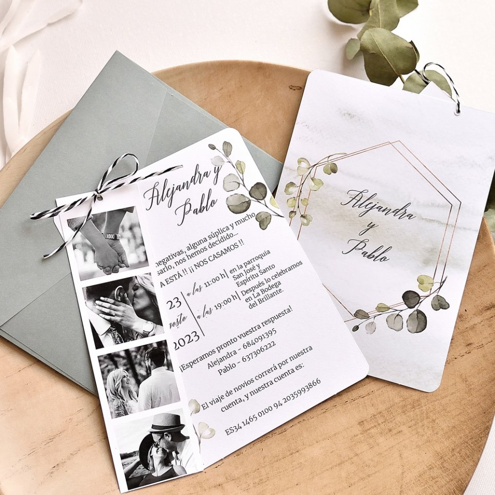 Cabina fotografica e foglie per invito a nozze, Cardnovel 39784