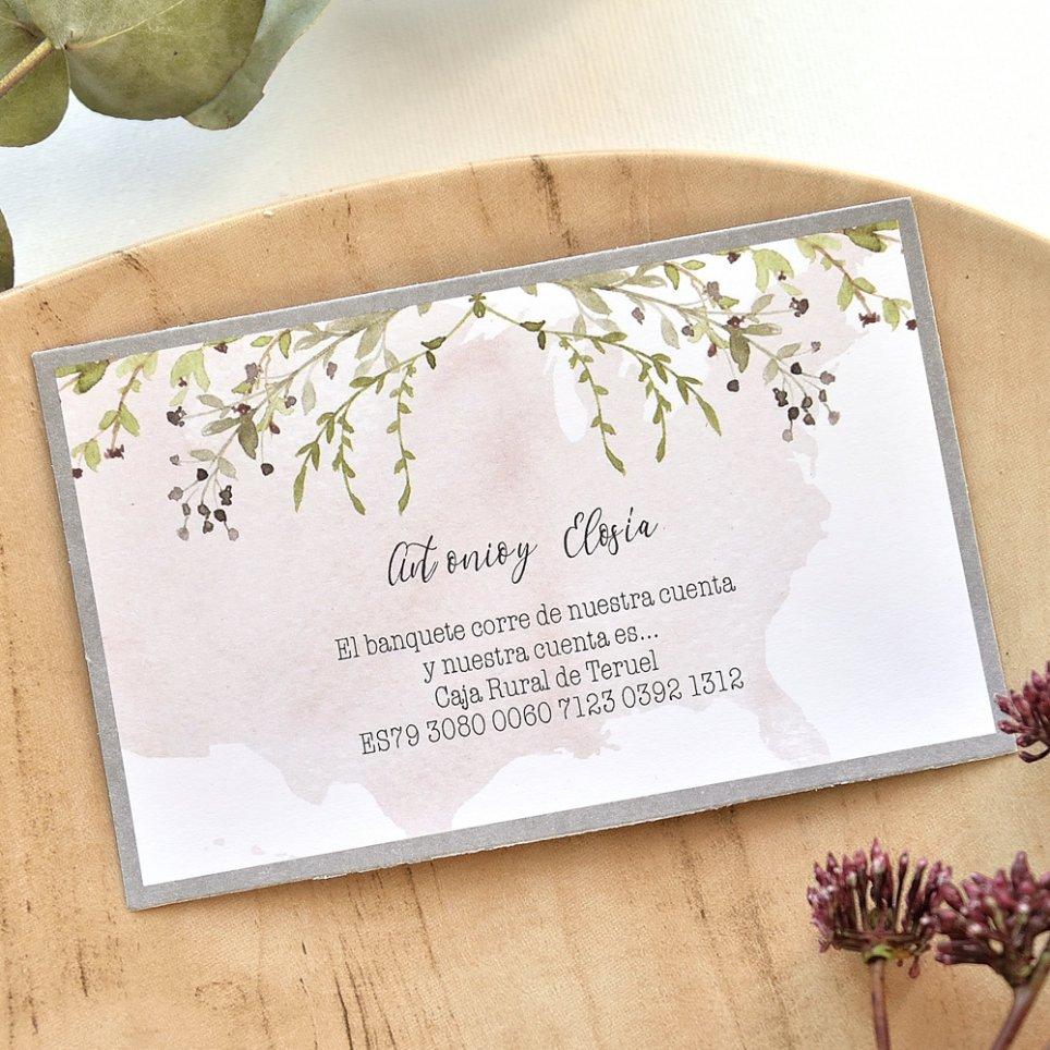 Tarjeta de agradecimiento hojas y fondo, Cardnovel 49760