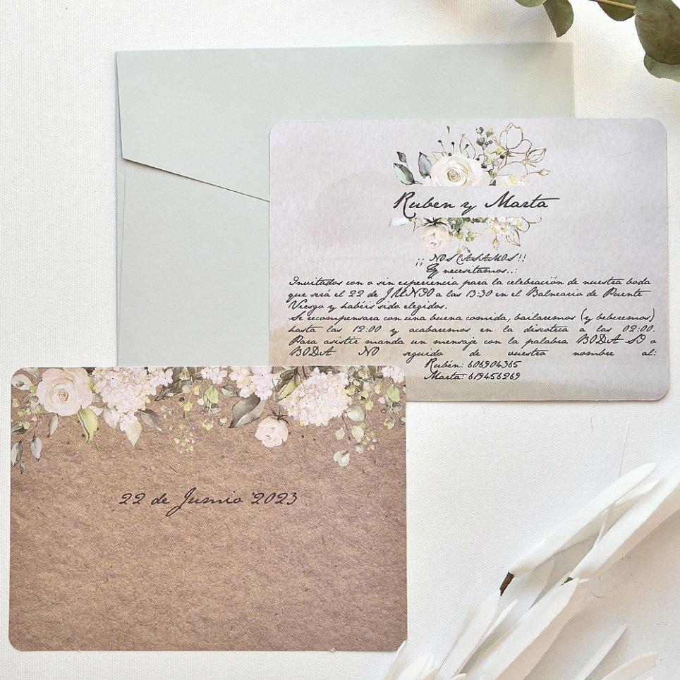 Invitación de boda a 2 caras, Cardnovel 39782