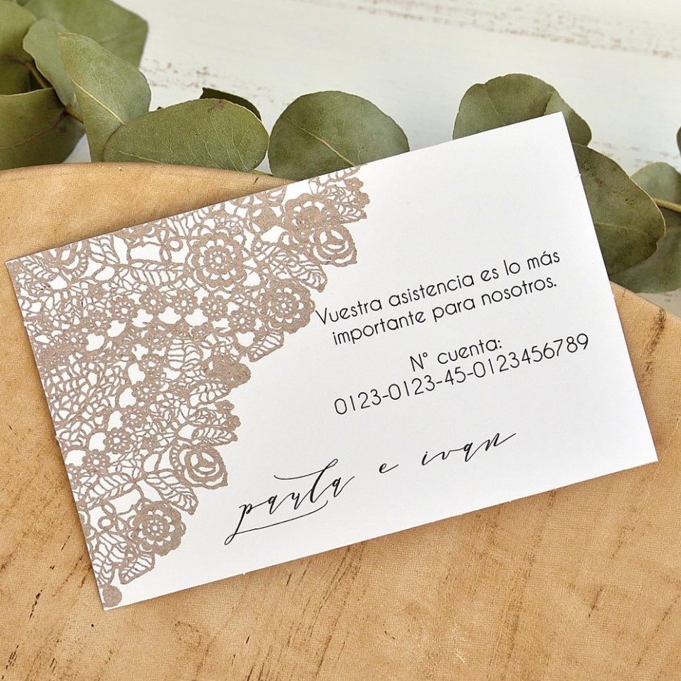 Lace tip thank you card, Cardnovel 49764