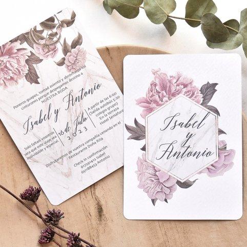 2-seitige Blumenhochzeitseinladung, Cardnovel 39783