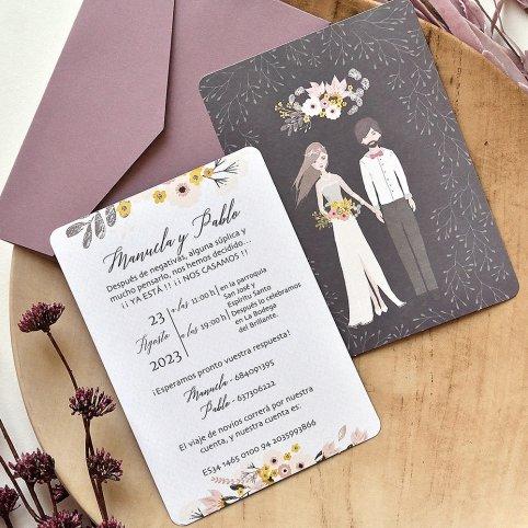 Hochzeitseinladungspaar und Blumenstrauß, Cardnovel 39786