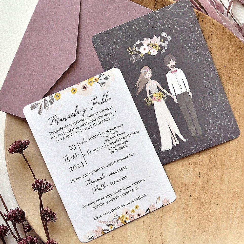 Invitación de boda pareja y ramo, Cardnovel 39786