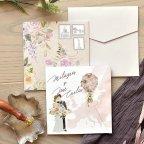 Invitación de boda pareja en globo, Cardnovel 39773