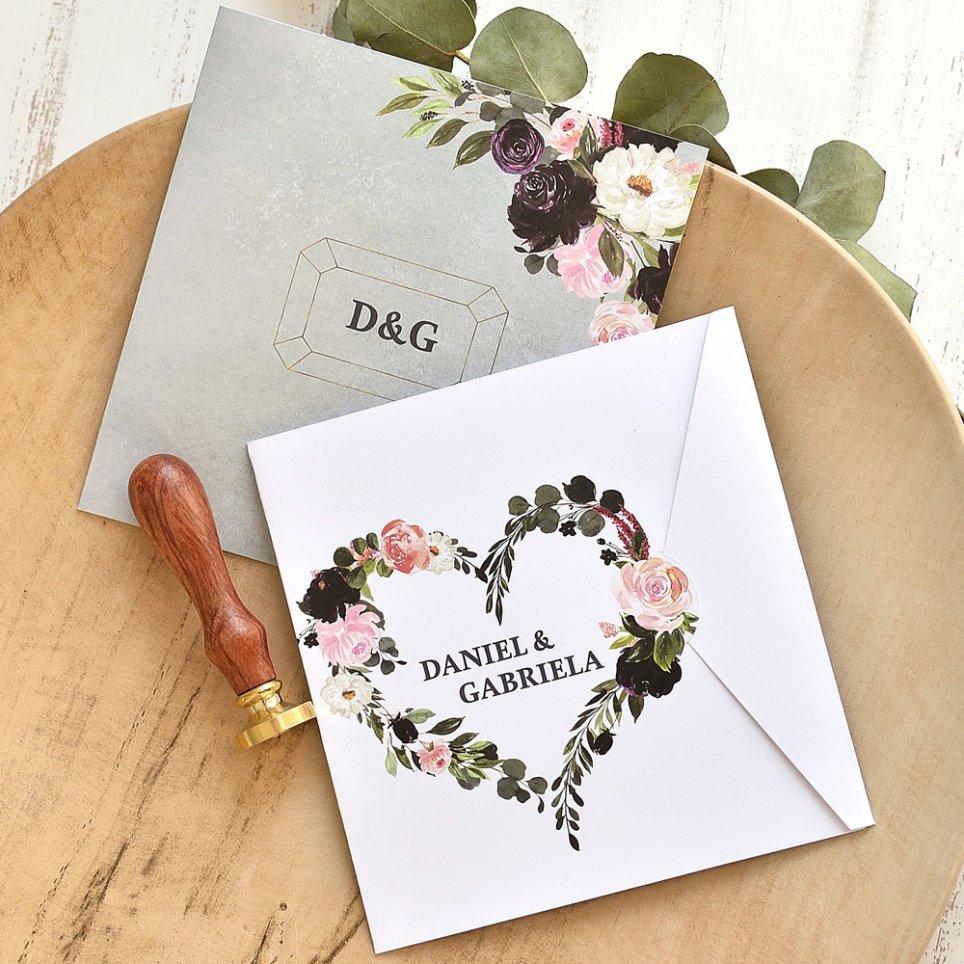 Invitación de boda semisobre con corazón, Cardnovel 39775