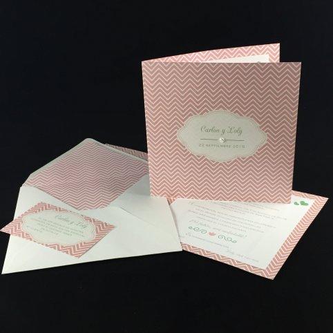 Invitación de boda rosa y brillante, 1803D