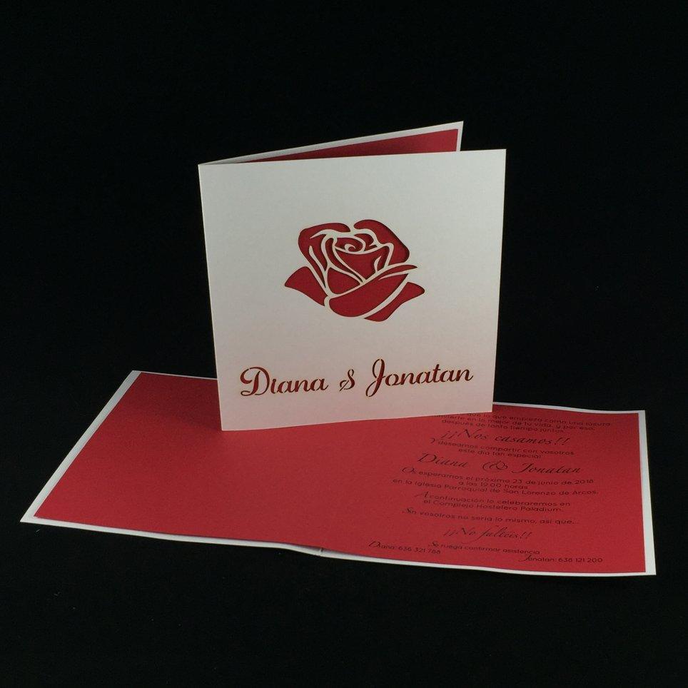 Rosa Laser-Hochzeits-Einladung, 1804F