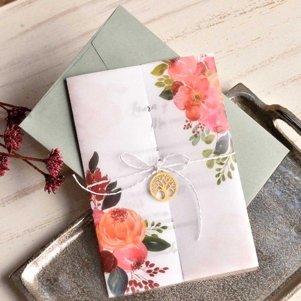 Invitación de boda flores y colgante, Cardnovel 39819