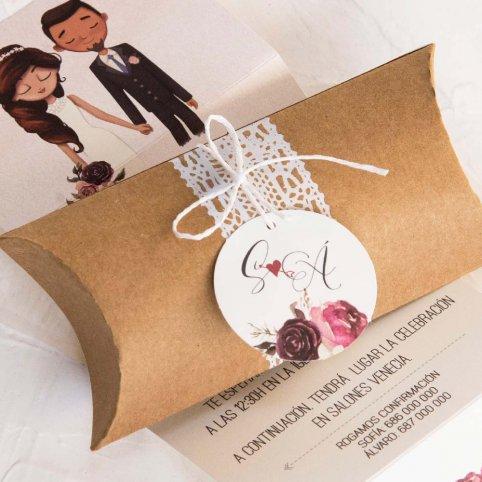 Convite de casamento em caixa de noivos, Cardnovel 39801