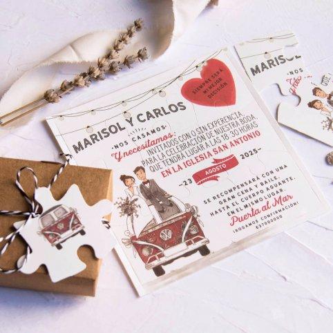 Convite de casamento quebra-cabeça com van, Cardnovel 39808