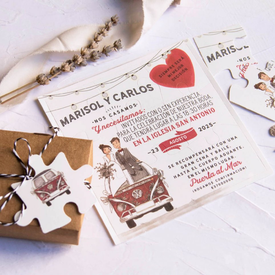 Puzzle wedding invitation with van, Cardnovel 39808