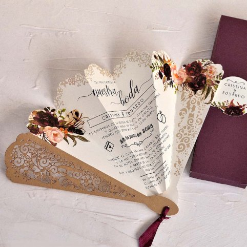 Leque de convite de casamento com flores Cardnovel 39818