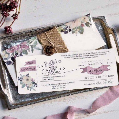 Invitación de boda semisobre con colgate, Cardnovel 39805