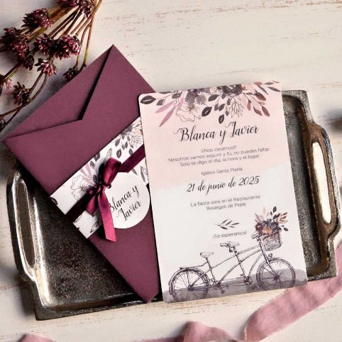 Invitación de boda bicicleta en tándem Cardnovel 39812