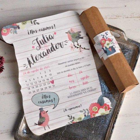 Pergaminho de convite de casamento e pássaros Cardnovel 39813