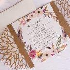 39810 Kraft Cardnovel laser wedding invitation