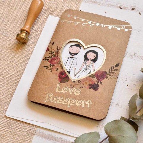 Cardnovel de Passaporte Amor Convite de Casamento 39815