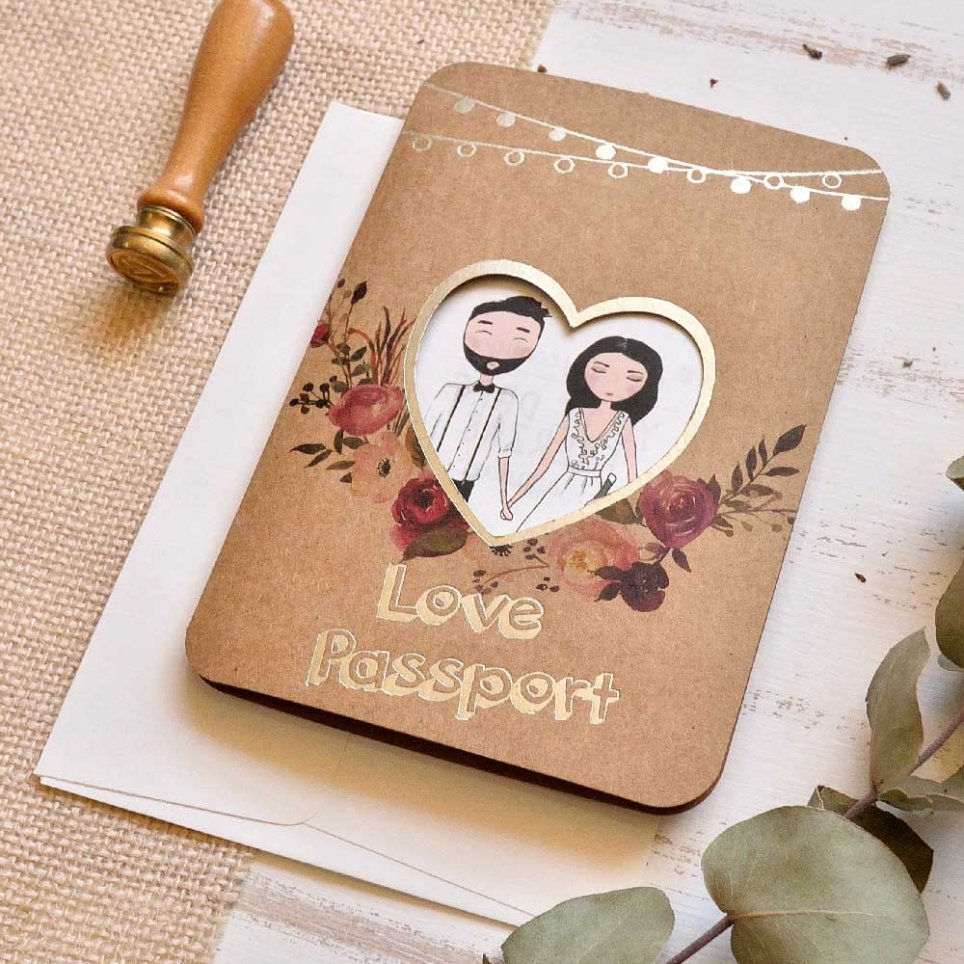 Invitación de boda Love Passport Cardnovel 39815