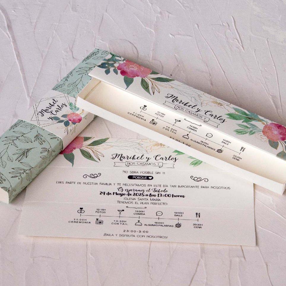 Hochzeitseinladungsbox in Pastelltönen Cardnovel 39821