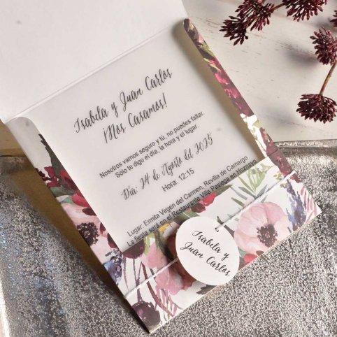 Invitación de boda flores nacaradas Cardnovel 39826