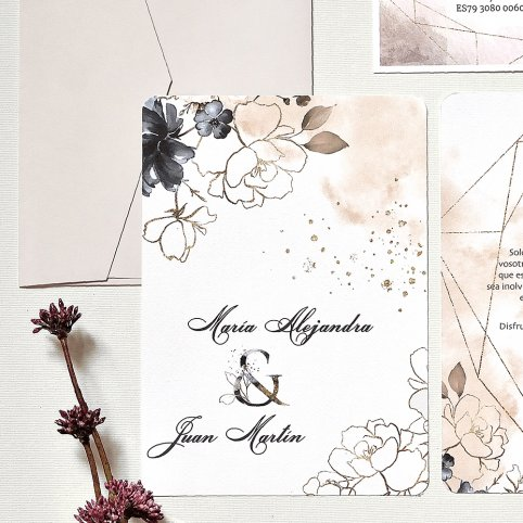 Invito a nozze con rose dell'acquerello, Cardnovel 39788