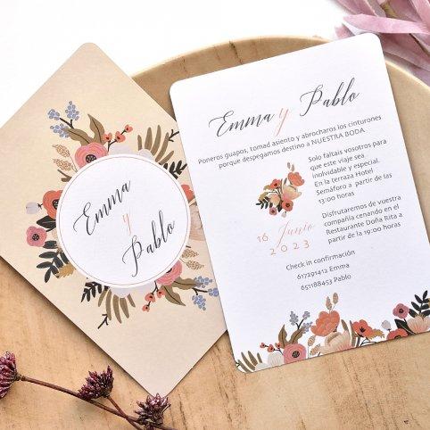 Blumenkreis Hochzeitseinladung, Cardnovel 39785