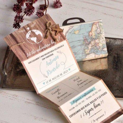 Convite de casamento de mala Let the Adventure, Cardnovel 39817