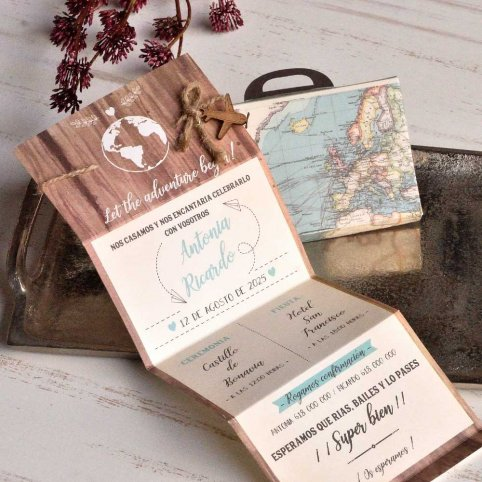 Invitación de boda maleta Let the Adventure, Cardnovel 39817