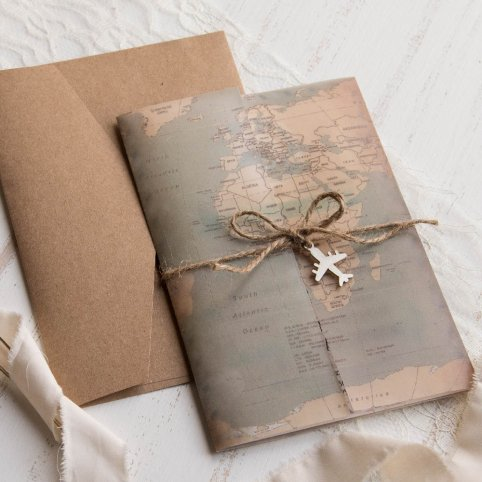 Convite de casamento do mapa mundial, Cardnovel 39823