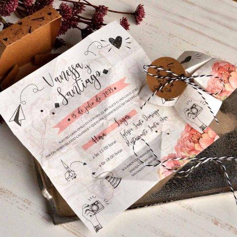 Invitación de boda comecocos de viaje, Cardnovel 39824