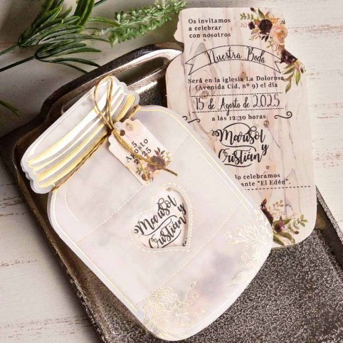 Invito a nozze in vaso floreale, Cardnovel 39827