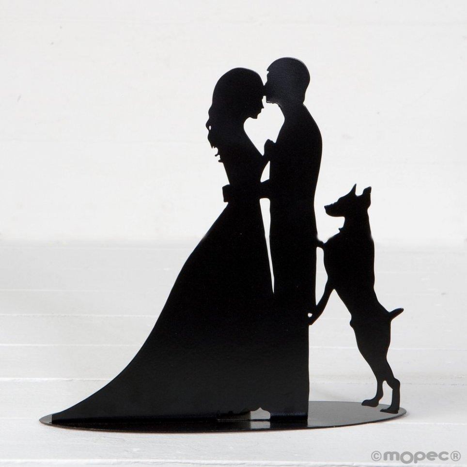 Figur / Kerzenhalter Kuchenpaar und Hund