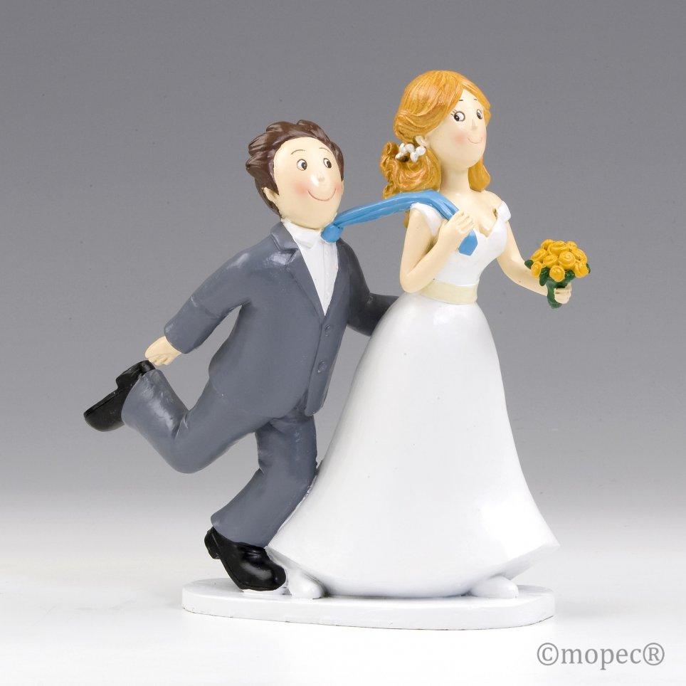 Figura pastel boda -Sí o Sí- tirando de la corbata 19cm.