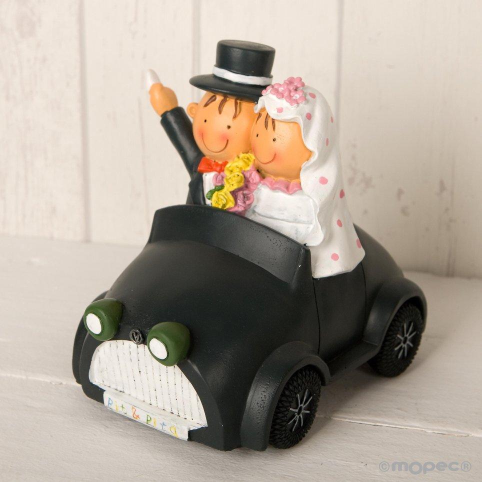 Figur Kuchen-Sparbüchse Braut und Bräutigam Pit-Pita Auto 16cm