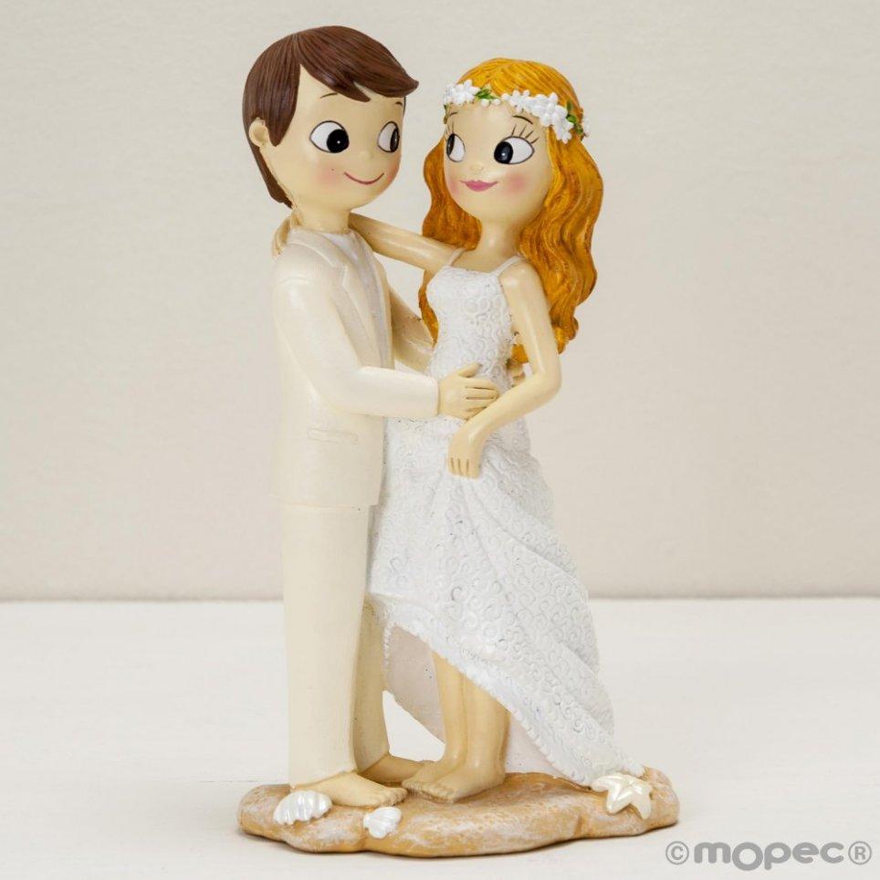 Torta Pop & Fun figura sposa e sposo a piedi nudi sulla spiaggia