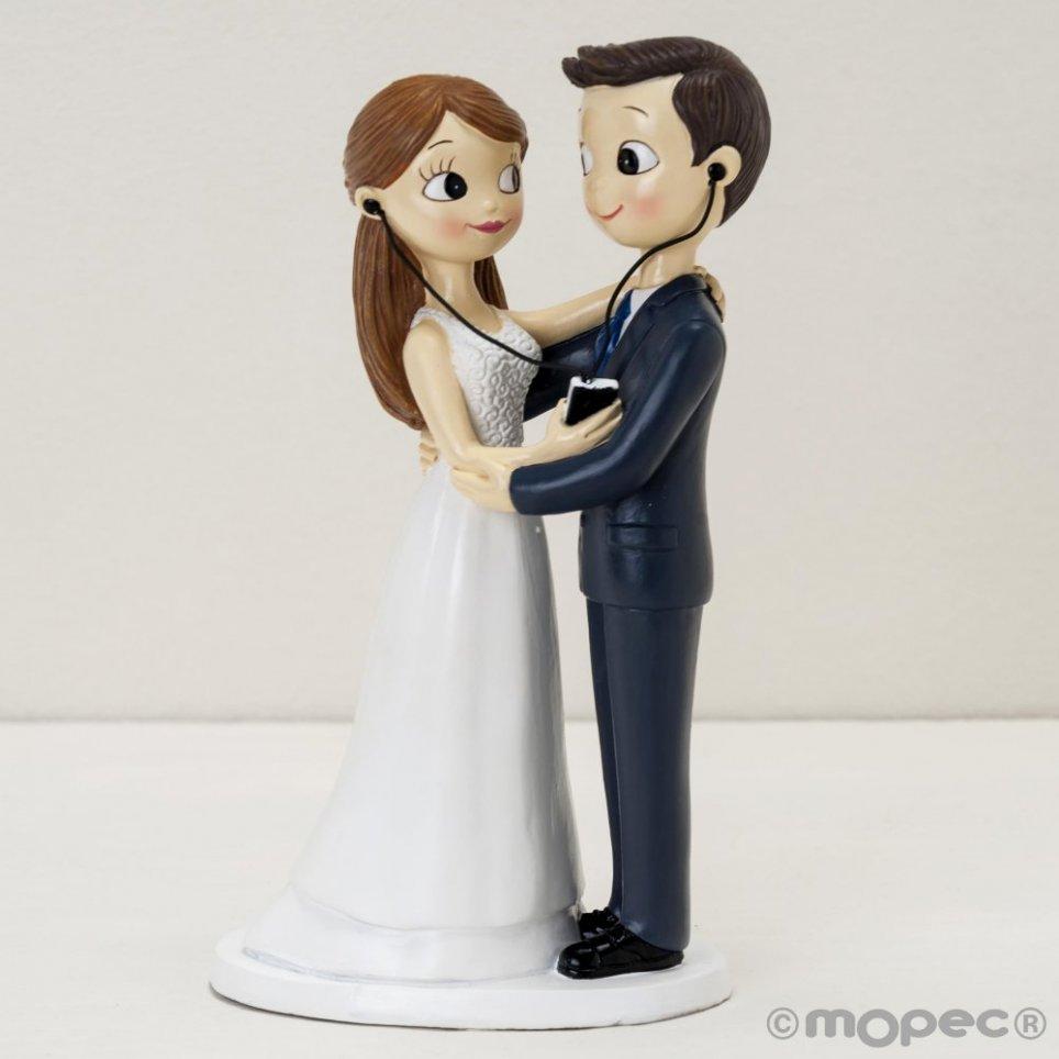 Figura torta sposa e sposo 21cm. condivisione di musica