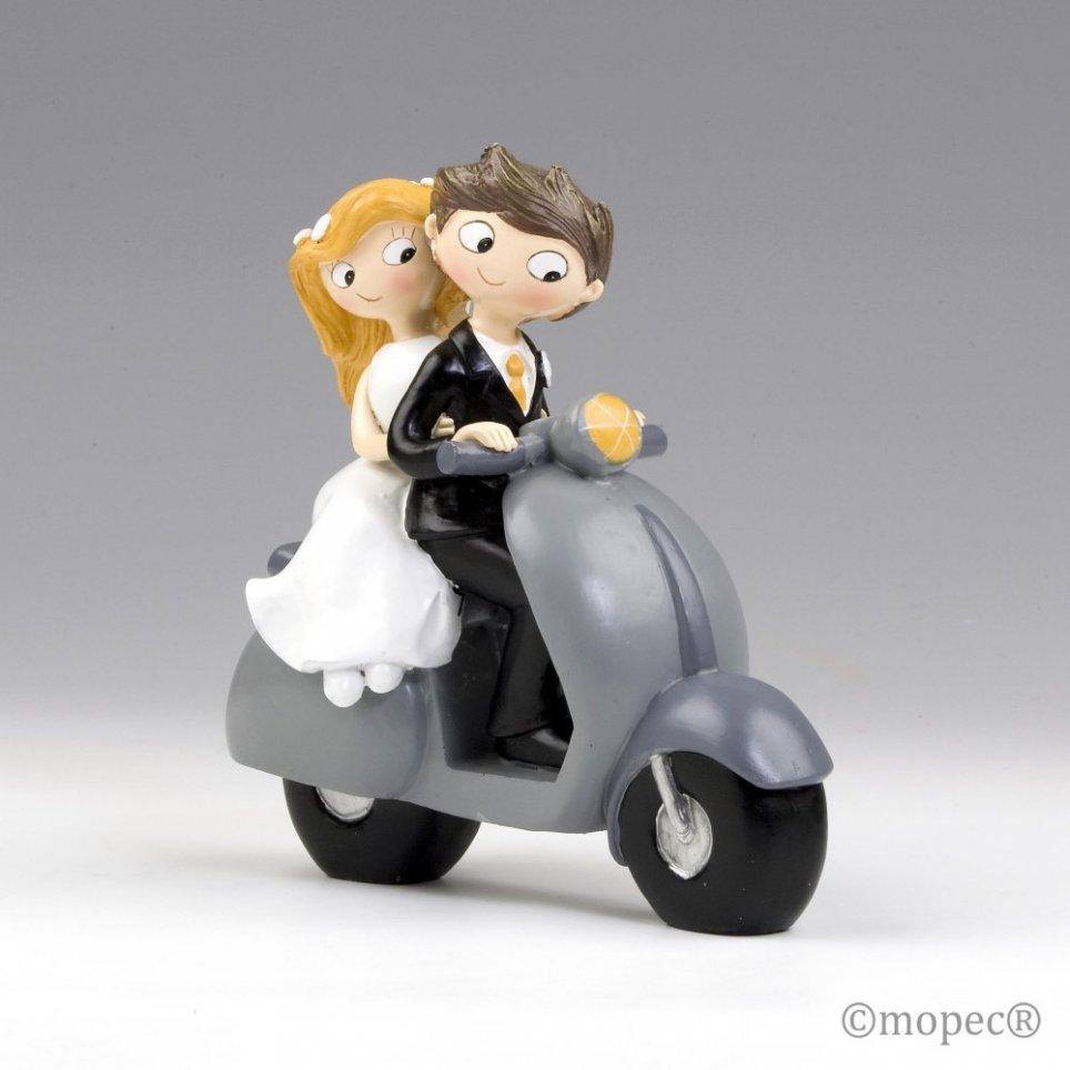 Figura torta coppia Pop & Fun su scooter 17cm