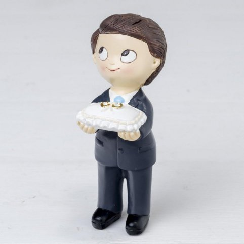 Pop & Fun torta figura ragazzo cravatta e anelli cuscino 11 cm.