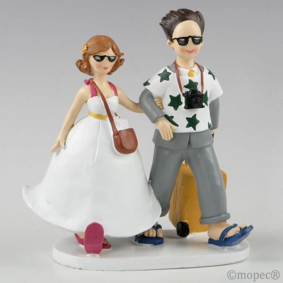 Figur Kuchen Braut und Bräutigam Reisende Flitterwochen 19cm.