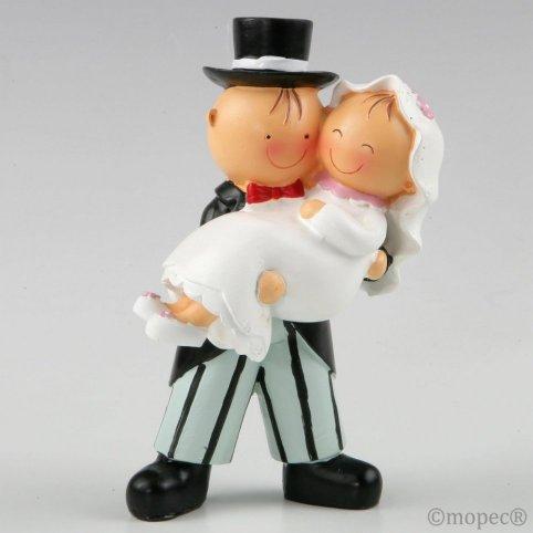 Figura pastel Pit&Pita novia en brazos 16cm