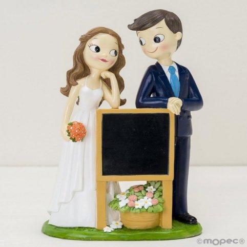Pop & Fun Braut und Bräutigam Kuchen Figur mit Tafel Poster